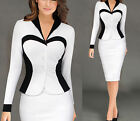 Women Colorblock Optical Illusion Wear to Work Office Sheath Dress Work Suits