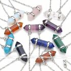 NEW Natural Gemstone Hexagon Crystal Quartz Healing Point Pendant Chain Necklace