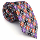 Y26 Extra Long Size Men's Ties Multi-color Checks Plaid Classic Wedding Orange