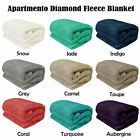 SNOW JADE INDIGO GREY CAMEL TAUPE Diamond Fleece Blanket SINGLE DOUBLE QUEEN