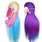Hairdressing Salon Cosmetology Colorful Hair Training Doll Head Mannequin+Clamp