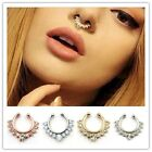 Non-Piercing Septum Clip-On Fake Nose Open Hoop Ring Body Crystal Jewelry