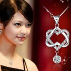 Women Shining Silver Plated Crystal Double Heart Pendant Necklace Chain Jewelry
