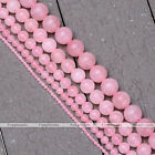"""2/4/6/8/10mm Natural Rose Quartz Round Loose Bead 15.5"""" for Necklace Jewelry DIY"""