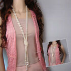 Women's Elegant Pearl Sweater Chain Long Pendant Necklace Fashion Jewelry Gift