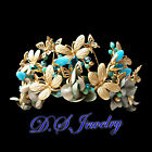 Semi-Aqua Swarovski Crystal Rhinestones Golden Butterfly Crown/Tiara & Hair Pin