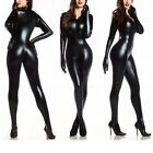 Women Bodysuit Faux Leather Catsuit Jumpsuit Clubwear Costume Play Fancy Dress