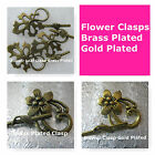 Flower Leaf Clasps Gold Plated Brass Plated Large Clasps