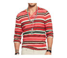 Ralph Lauren Denim & Supply Mens Slim Red Striped Henley Button Shirt New XL 2XL