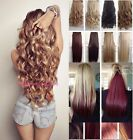 Hair Extensions Half Full Head Blonde Long Clip In Feel as Human Curly Straight