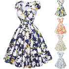 Floral Vintage 50s 60s Cap Sleeve Swing Pin-up Retro Party Housewife Short Dress