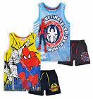 Boys Marvel Spiderman Vest Top And Shorts New Kids 2 Piece Set Age 3 4 6 8 Years