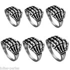 1PC Men's New Fashion Silver Plated Stainless Steel Punk Skeleton Rings