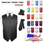 Men's Paisley Design Dress Vest & NeckTie Color Neck Tie Set for Suit or Tuxedo