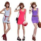 Women's Cotton Long Dress Tank Sleeveless Tops Beach Blouses Vest Shirt Dress
