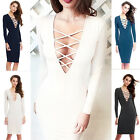 Womens Sexy V-Neck Long Sleeve Slim Bodycon Mini Dress Evening Party Cocktail