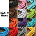 1/3/5/10M Vintage Color Twist Braided Fabric Cable Wire Cord Electric Light Lamp
