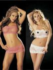 Lace & Mesh Crop Top &  Mini Skirt with attached G-string One Size Shirley 96964