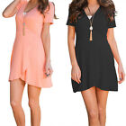 Womens Sexy Casual Short Sleeve Mini Dress Party Evening Cocktail Asymmetry Lap