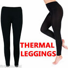 WOMENS LADIES THERMAL BLACK FOOTLESS WARM THICK FLEECE LINED LEGGINGS STRETCHY