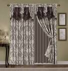 Luxury Embroidered Curtain Set 4pc Taupe Gold Beige Brown Drapes valance tieback