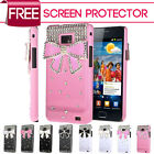3D Luxury Crystal Bow Diamond Bling Case Cover For Samsung I9100 Galaxy S2