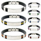 Men's Women's New Stainless Steel Rubber Wristband Bangle Clasp Cuff Bracelet uf