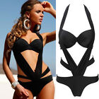Rare One Piece Bandage Halter Monokini Push-up Padded Bathing Suit Swimwear