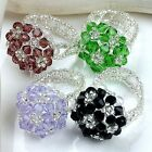 1x Crystal Glass Faceted Drum Beads Flower Cocktail Finger Ring Women Jewelry