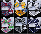 Check Stripe Silk Men Double Sided Self Bow Tie Pocket Square Set #G4
