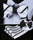 BE03L Black White Stripe Men Double Sided Self Bow Tie Pocket Square Set