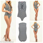 WOMENS LADIES RIBBED STRIPED LACE UP V NECK SLEEVELESS BODYSUIT LEOTARD SEXY TOP