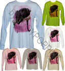 1-GRAPHIC PRINTED LONG SLEEVE TEE-SHIRT-BLACK PANTHER PINK SKY WILD CAT WILDLIFE