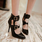Sexy ladies fashion womens stiletto super high heel buckle stapy sandals shoes