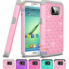 Hybrid Luxury Crystal Bling Matte Pink Case Cove For Samsung Galaxy S7 / S7 Edge
