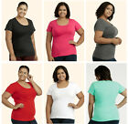 Plain Women Ladies Casual Everyday PLUS SIZE  Cotton Crew T-Shirt Top XL 2XL 3XL
