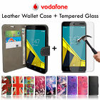 Flip Wallet Leather Case Cover + Tempered Glass For Vodafone Smart Mobile Phones