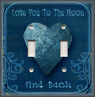 Metal Light Switch Plate Cover - Love You To The Moon Home Decor Blue Home Decor