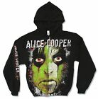 ALICE COOPER GREEN FACE A/O BLACK ZIP HOODIE SWEATSHIRT NEW OFFICIAL ADULT