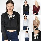 Ladies Lace Up Cropped Hooded Sweatshirt Womens Eyelet Detail Fleece Hoody Top