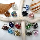 Fashion Ladies Flower Faceted AB Crystal Glass Beads Finger Ring Adjustable Gift