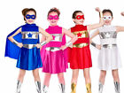Superhero Outfit Girls Fancy Dress Super Hero Costume 5 Colours Age 3-13