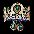 Emerald Swarovski Crystal Rhinestone Lacy Crown/Tiara & Earrings Clip On Set
