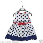 NEW BABY GIRLS STRIPE/SPOT PARTY DRESS BOW FRONT 6-12-18-24 MONTHS NEXT DAY POST