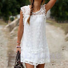 Sexy Beach Mini Dress Women Summer Casual Lace Sleeveless Cocktail Boho Sundress