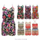 LADIES WOMENS STRAPPY AZTEC FLORAL PRINT SUMMER CROSS FRONT PLAYSUIT JUMPSUIT