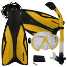 PROMATE Deluxe Snorkeling Diving Gear Combo Set Mask Goggles Snorkel Flippers