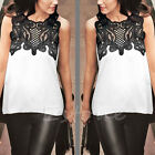 Women's Sleeveless Lace Chiffon Casual Loose Hem Tee Summer T-Shirt Tops Vest