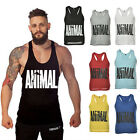 Men Animal Printed Gym Tank Tops Bodybuilding Stringer Workout Vest Fitness Tops