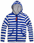 Boys Baby Blue Stripe Hoodie New Kids Zip Front Hooded Jacket Ages 3-24 Months